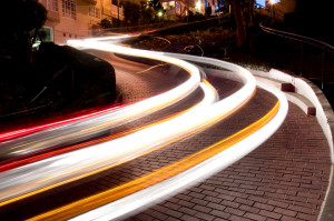 Long exposure of cars going down the famous Lombard Street in San Francisco.